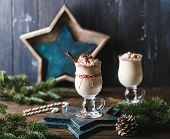 Eggnog With Cinnamon For Christmas And Winter Holidays. Traditional Christmas Drink Eggnog. Christma poster