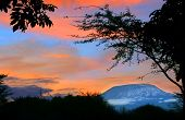 Sunrise on mount Kilimanjaro. Kenya. Amboseli national park.