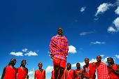 AFRICA,KENYA,MASAI MARA,NOVEMBER12:Masai warriors dancing traditional jumps as cultural ceremony,rev