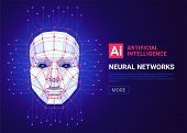 Neural Networks And Artificial Intelligence Concept. Human Face Consisting Of Polygons, Points, Line poster
