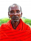 AFRICA,KENYA, SAMBURU - NOVEMBER 8: portrait of an African Chief of the Samburu tribe village posing for the camera, a review of daily life of local people near Samburu Park National Reserve on November 8, 2008 in Kenya