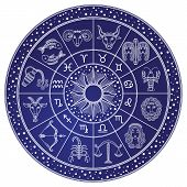 Horoscope And Astrology Circle Zodiac With Twelve Signs Vector. Start And Images Of Leo, Scorpion An poster