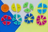 Colorful Math Fractions On The Bright Backgrounds. Interesting Math For Kids. Education, Back To Sch poster
