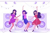 Young Beautiful Woman Dancing In Club On Dance Floor. Concept Fun, Enjoy Girl In Dress With Friends. poster