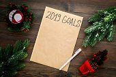 Goals List For New Year 2019 Mockup Near New Year Background Like Spruce Branch, Candle, Festive Tre poster