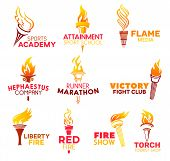 Torch Icons And Symbols Vector Icons. Sports Academy And Attainment Sport School, Media Flame, Hepha poster