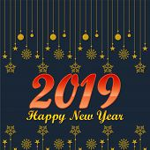 2019 On Navy Blue Background, New Year 2019,, Happy New Year 2019,, New Year 2019, Numeral 2019, New poster