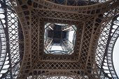 Close-up Shot From Under The Eiffel Tower. Eiffel Tower From Below. poster