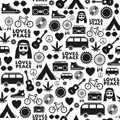 Seamless Pattern With Hand Drawn Hippie Objects poster