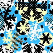 Christmas Hand Craft Expressive Ink Seamless Snowflakes Pattern. poster