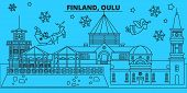 Finland, Oulu Winter Holidays Skyline. Merry Christmas, Happy New Year Decorated Banner With Santa C poster