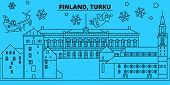 Finland, Turku Winter Holidays Skyline. Merry Christmas, Happy New Year Decorated Banner With Santa  poster