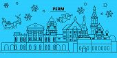 Russia, Perm Winter Holidays Skyline. Merry Christmas, Happy New Year Decorated Banner With Santa Cl poster