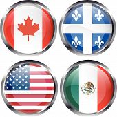 North American Flag Buttons
