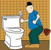 foto of pipefitter  - handyman or plumber fixing broken toilet  - JPG