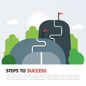 Steps To Success Concept. Next Level, Upgrade Reach Goal, Higher And Better, Motivation And Improvem poster