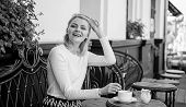 Woman Elegant Happy Face Have Coffee Cafe Terrace Outdoors. Mug Of Good Coffee In Morning Gives Me E poster