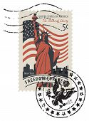 Vector Illustration Of A 5-cent Usa Postage Stamp With A Postmark In Retro Style. Postage Stamp With poster