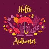 Autumn Greeting Card With Umbrella, Gumshoes, Flower, Leaves, Acorn On Dark Background. Perfect For  poster