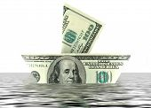 100 dollars bill ship in the water