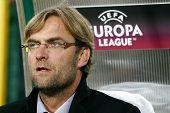 LVIV, UKRAINE - SEPTEMBER 16: FC Dortmund Borussia coach Jurgen Klopp watching the Europa League foo