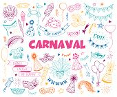 Hand Drawn Carnival Objects Set Isolated On White Background. Masqeurade Design Elements Collection  poster