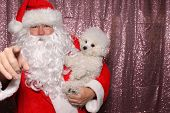 Santa Claus with a Dog. Santa holds a small white Bichon Frise dog in a Photo Booth with a Pink Sequ poster
