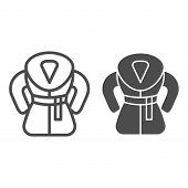 Fur Coat Line And Glyph Icon. Winter Coat Vector Illustration Isolated On White. Warm Clothes Outlin poster