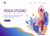 Web Page Template Of Yoga Studio. Modern Flat Design Concept Of Web Page Design For Website And Mobi poster