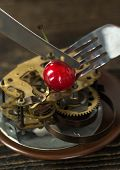 Clock Mechanism On Plate, Lose Time While Eating. Time Food. Food For Youth. Healthy Eating And Heal poster