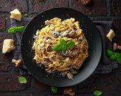 Pasta With Shiitake Mushrooms And Chicken With Herbs And Cheese poster