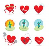 Set of 9 emoticons; 3 healthy happy hearts, 3 sick sad hearts and 3 wellness characters
