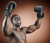 Muscular serious looking boxer raises his gloved arms