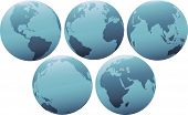 Planet Earth Globes In Soft Blue Light.Eps poster