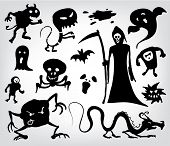 Monsters, Ghosts And The Grim Reaper, a collection of silhouettes for halloween, fantasy and horror.