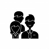 Group Leadership Black Icon, Vector Sign On Isolated Background. Group Leadership Concept Symbol, Il poster
