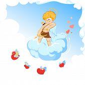 The angel shoots hearts