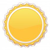 picture of alcoholic beverage  - yellow metal cap from bottle - JPG