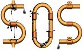 vector illustration of SOS sign from oil pipeline