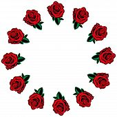 Rose Icon. Vector Of A Set Red Roses. Hand Drawn Red Roses Lined Around For A Greeting Card. Roses L poster