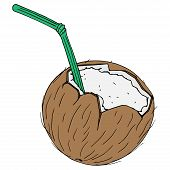 Coconut With A Cocktail Straw Icon. Vector Illustration Of A Broken Coconut With A Decorative Umbrel poster