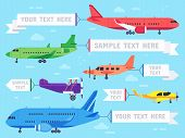 Airplane With Banner. Flying Ad Aeroplane, Aviation Aircraft Banners And Airline Plane Ads Vector Il poster