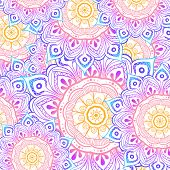 Seamless Multicolor Pattern With Oriental Mandalas. Hippie Mandala Pattern. Kaleidoscope Elements. F poster