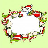 stock photo of winterberry  - Christmas frame with Santa Claus and elves - JPG