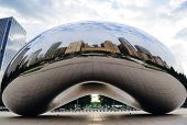 CHICAGO, IL - Oct 6: Cloud Gate and Chicago skyline on October 6, 2011 in Chicago, Illinois. Cloud G