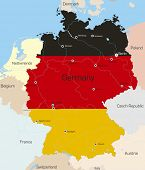 Abstract vector color map of Germany country coloured by national flag