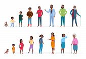 African American People Of Different Ages. Man Woman Baby Kids Teenagers, Young Adult Elderly Person poster