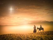 Nativity Christmas Concept: Silhouette Pregnant Mary And Joseph With A Donkey On Star Of Cross Backg poster