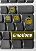 Close-up of Computer keyboard with emotions signs