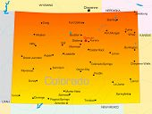 stock photo of colorado high country  - Vector color map of Colorado state - JPG